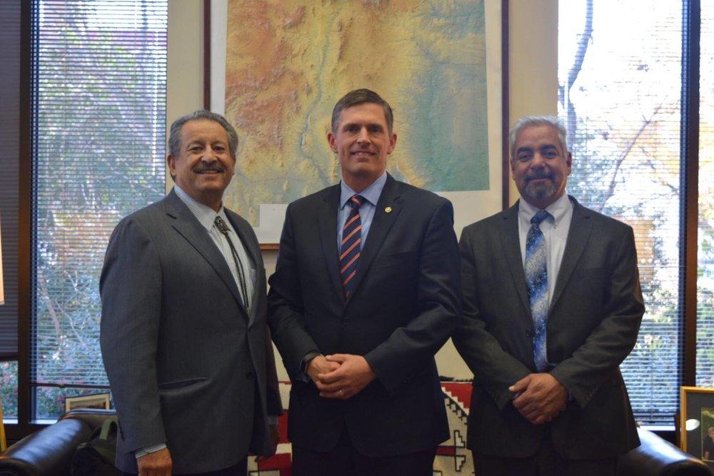 HECHO Advisory Board Member Kent Salazar, Senator Martin Heinrich, and HECHO Advisory Board Chair Rock Ulibarri