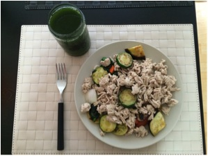 My completed ground chicken stir fry and a green juice.