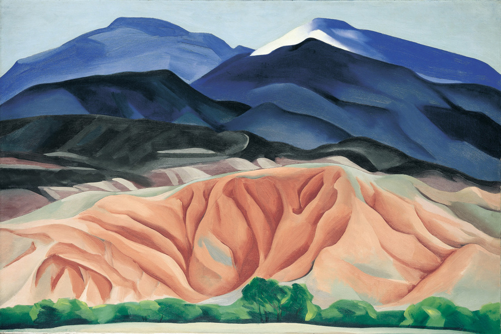 Georgia O'Keeffe, Black Mesa Landscape, New Mexico/Out Back of Marie's II, 1930, Oil on canvas mounted to board, 24 1/4 x 36 1/4 inches, Gift of the Burnett Foundation, ©Georgia O'Keeffe Museum