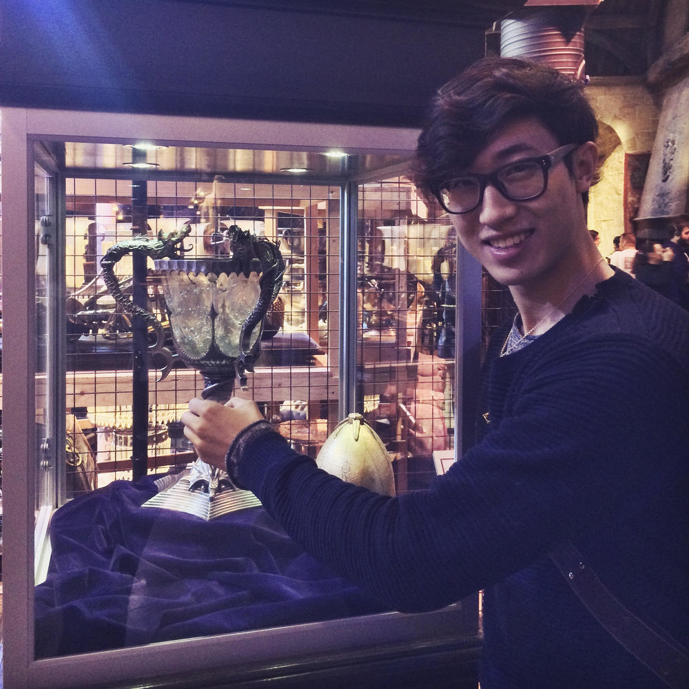 "Jin ""holding"" the Triwizard Cup from ""The Goblet of Fire""."