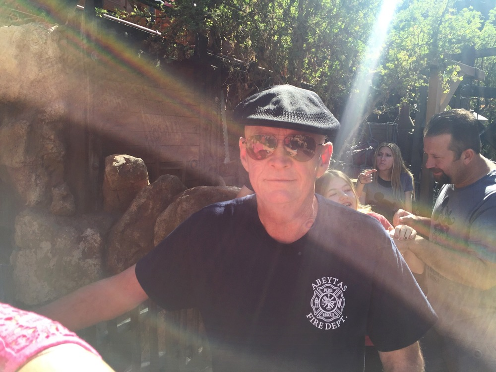 My dad in line for Thunder Mountain.