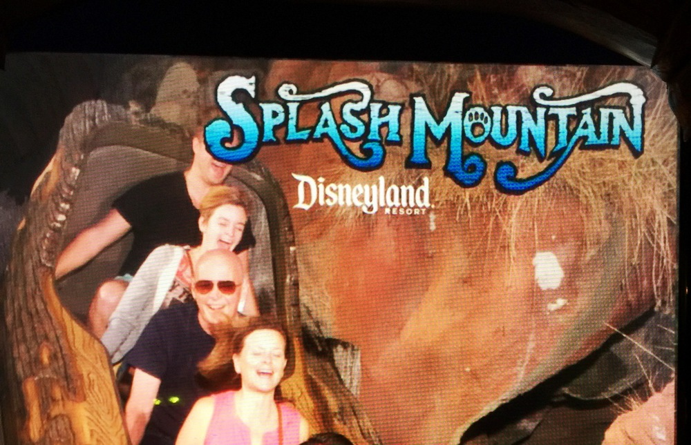 Falling at Splash Mountain,  Oliver didn't fully make it into the photo...