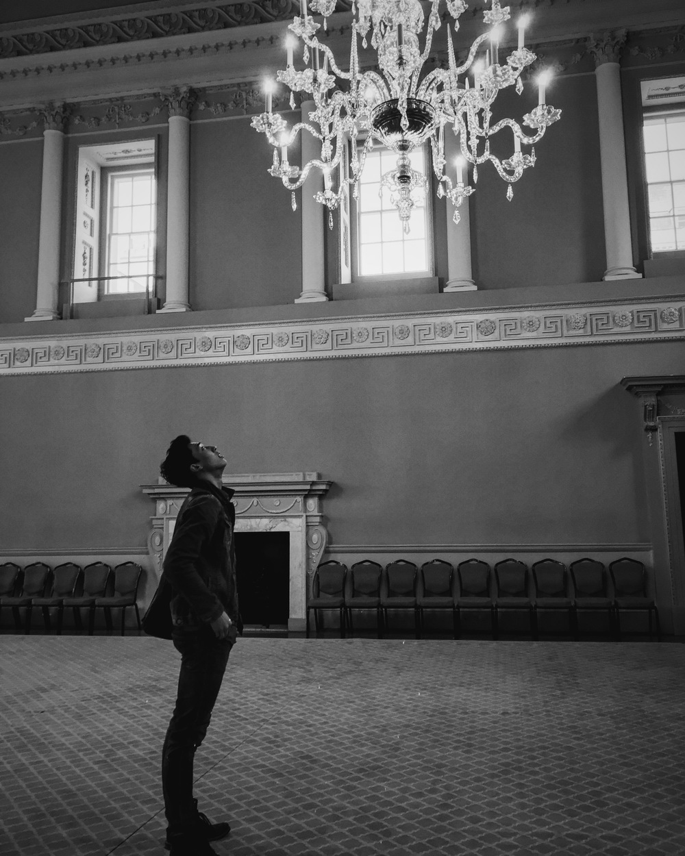 Jin inside of the Assembly rooms