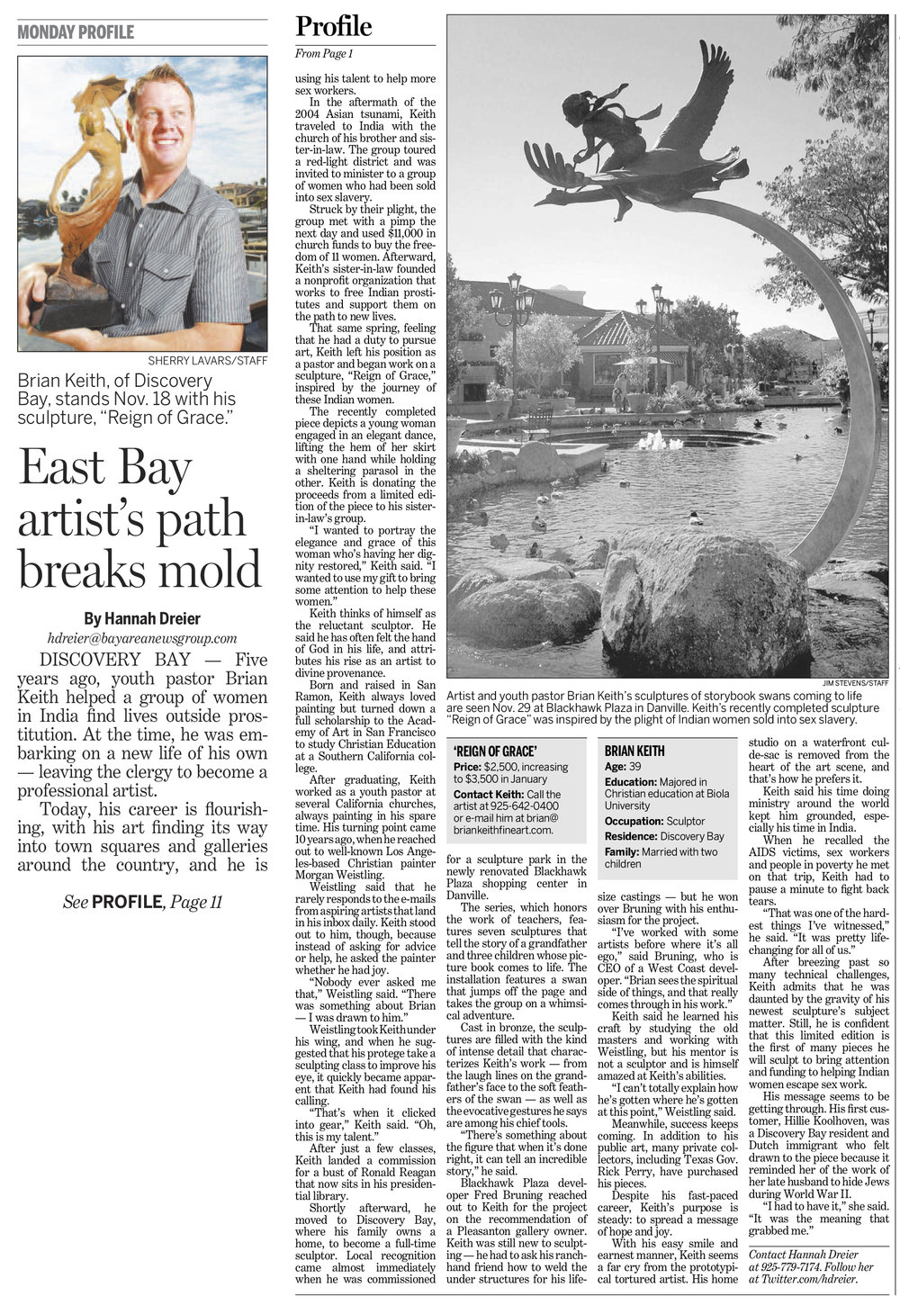 Contra Costa Times Feature Article