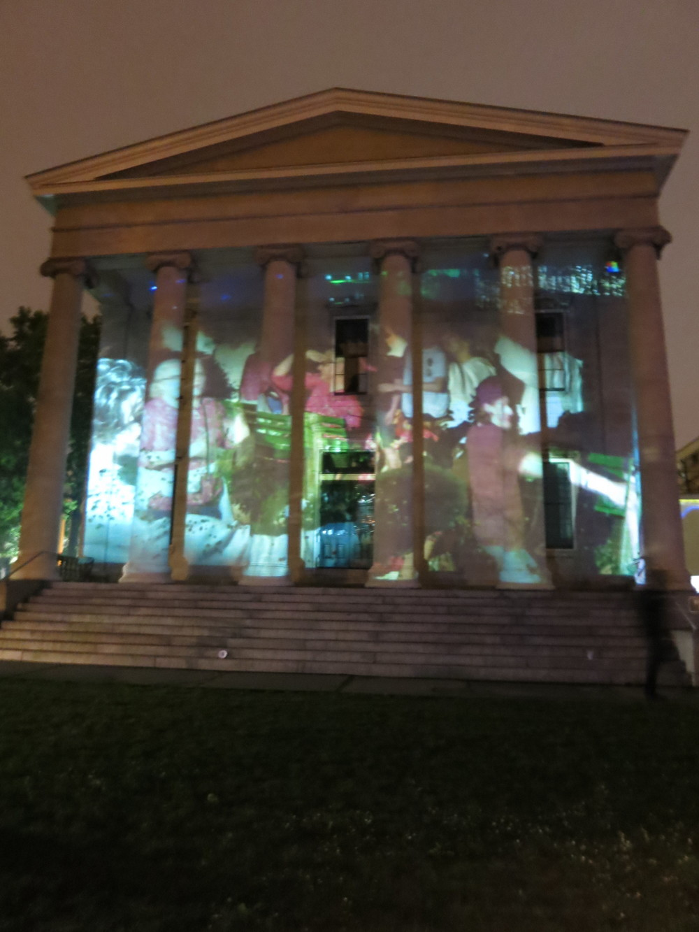 View of Automated Digital Photo Collage installed at LUMEN Film Festival, Staten Island, NY July 2015