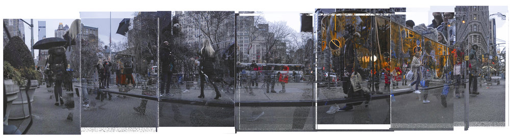 Panoramic Automated Digital Photo Collage generated on 5th Avenue and 23rd Street, 1.2019
