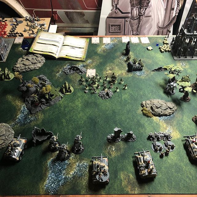 The last game of 2018 gaurs vs death guard. Predictable results when the imperials didn't have heavy support. Though closer than expected.