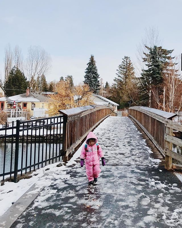 Neighborhood walks with your littlest host. Follow her advice and bring your gloves and winter boots next time you visit Bend!