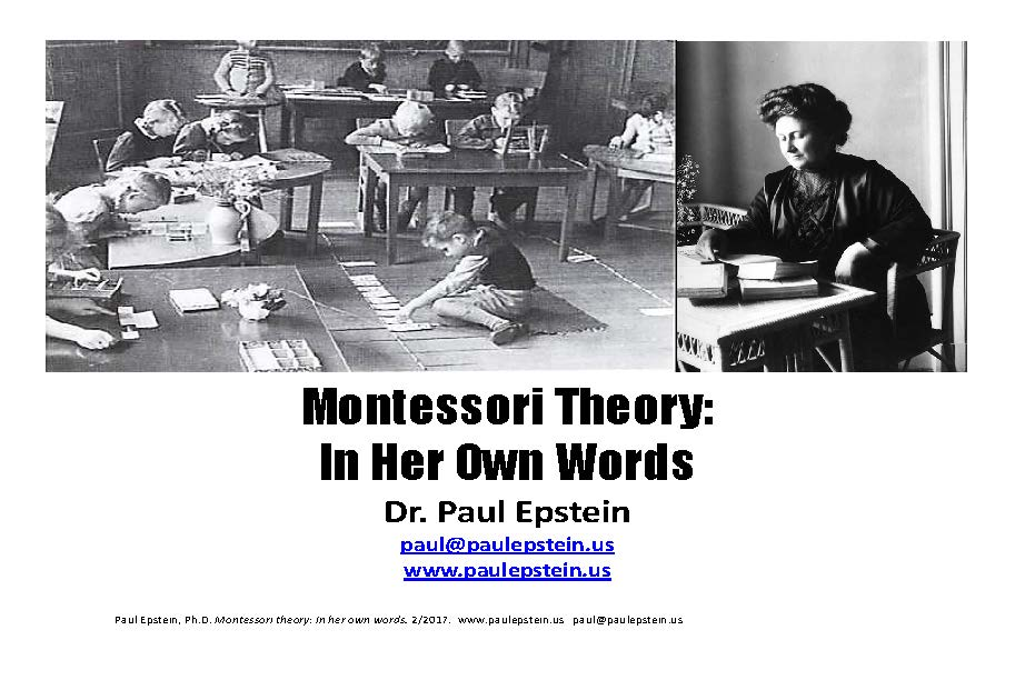 Cover page from paul epstein montessori theory in her own words 2 2017.jpg