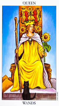 Queen Of Wands from the Ryder- Waite Radiant Deck