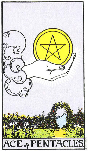 Ace of Pentacles from the Ryder-Waite Deck
