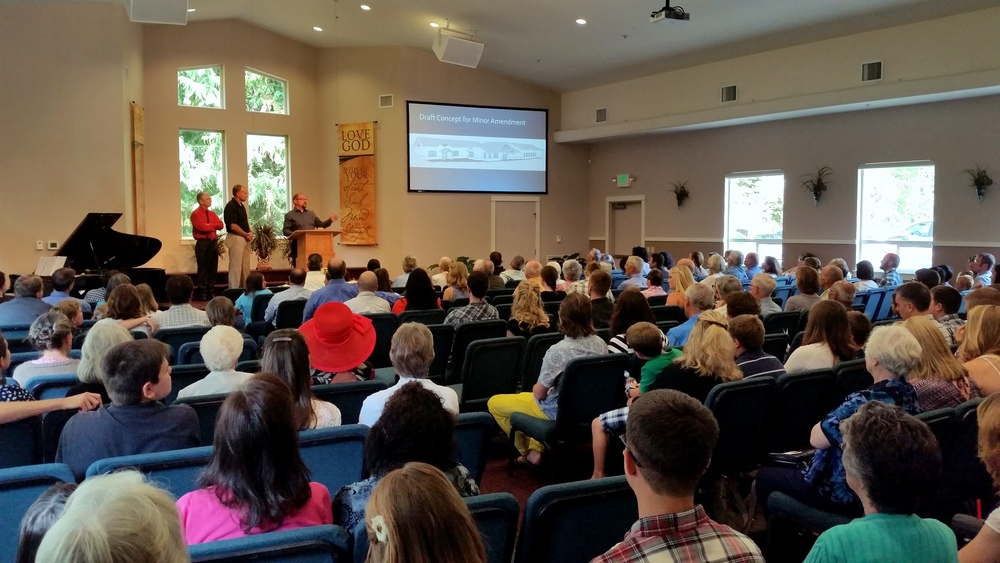 Here is a photo of our August 2, 2015 Sunday morning service. Our mid-summer full house confirmed the value of expanding the facility before our building committee could even give their presentation!