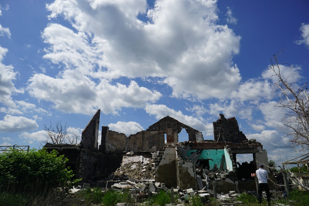 Building destroyed by recent war in Slavyansk, Ukraine.