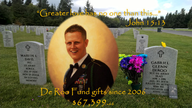 Sgt De Roo is buried at Tahoma Nation Cemetery, Covington, WA.