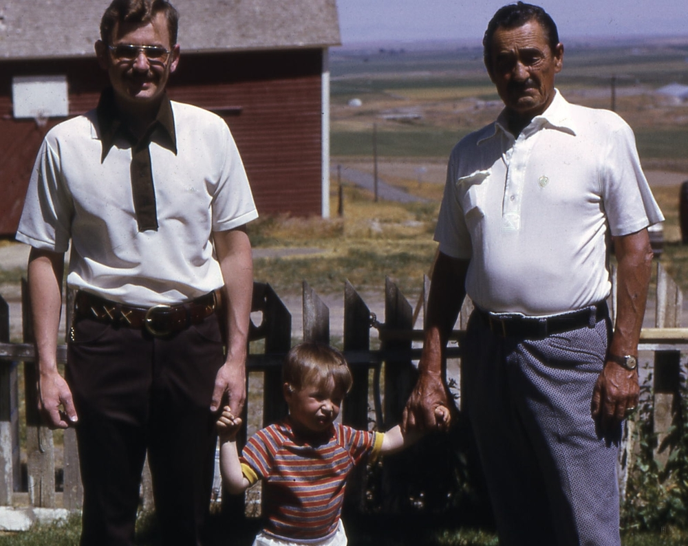 Three generations: Myself (Mark) and my son Joshua along with my father Emil on the ranch in the 1970's.