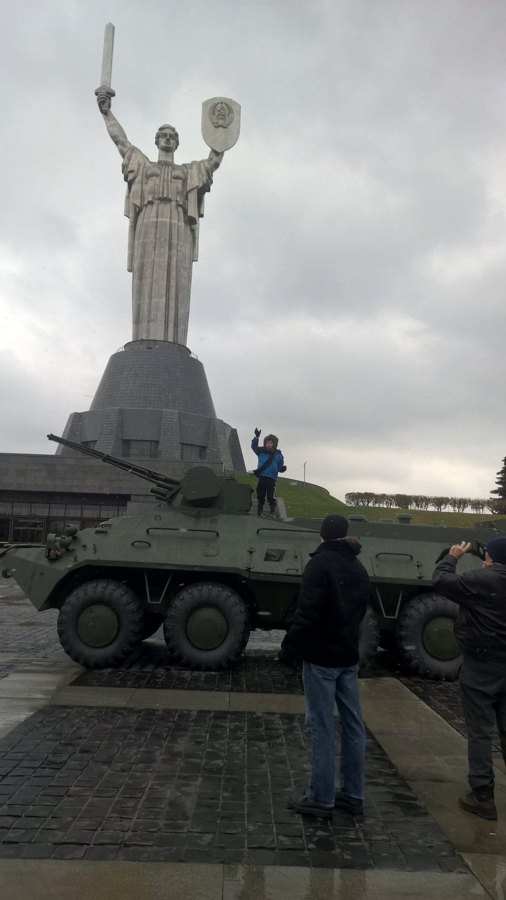 The Motherland Statue in Ukraine was built just prior to the fall of the U.S.S.R.  Note the hammer and sickle on her shield.