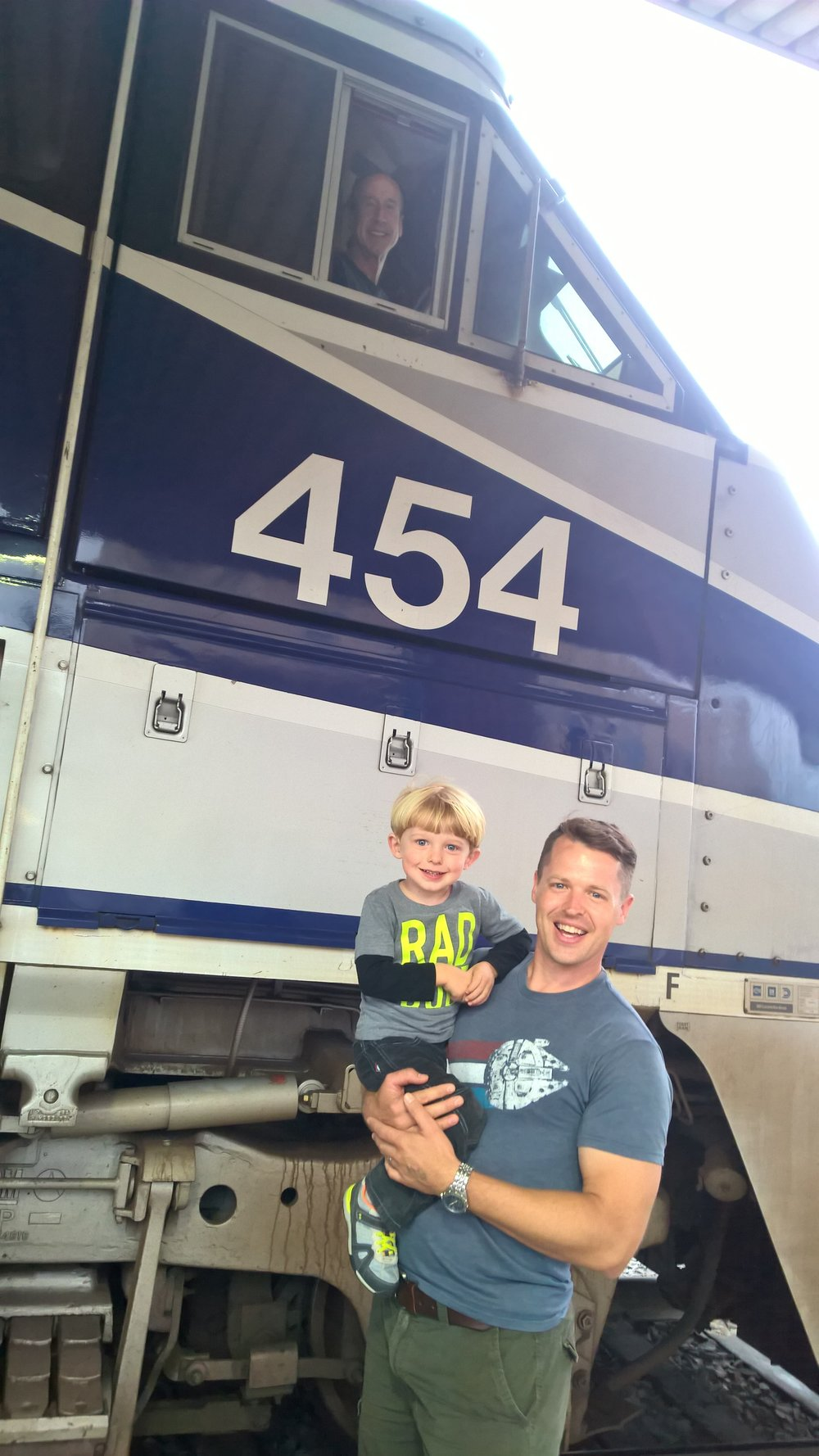 Little Noah, who loves trains, and his dad gets to meet engineer Mike who got us home safe.
