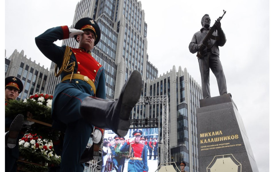 New monument dedicated in September to Lt. Gen. Michael Kalashnikov who invented the AK47.  Photo - New York Times