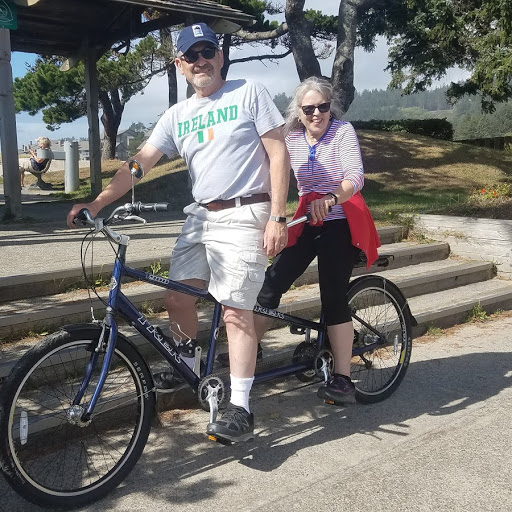 Tandem bike riding in Cannon Beach.
