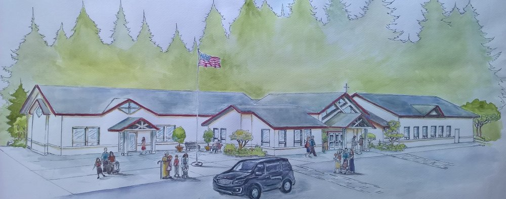 Watercolor painting of proposed new facilities by Adria Hanson.