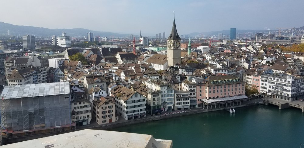 View from the top of the steeple in Zurich.