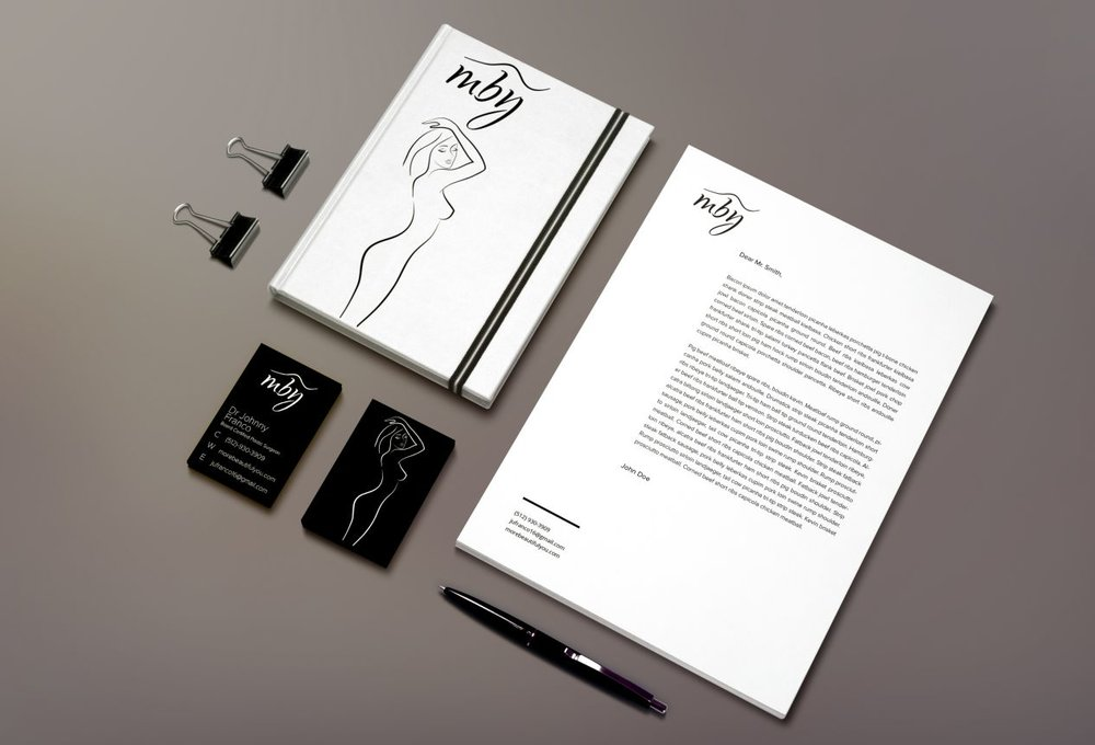 Brand Collateral - I then expressed the style guide in multiple mediums, from sign-in books and letterheads to sleek business cards to tie together the luxury of this brand.