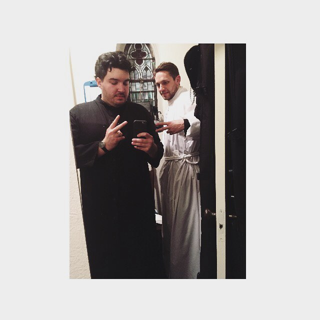 Pre-game with Fthr. Tim. Served in my first liturgical service last night. Gloria, Christ has come. 🙏🏼