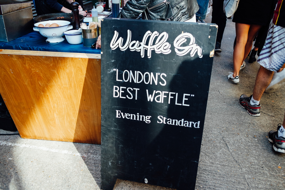 Amelia taking me to the best brunch spots - Waffle On @ Maltby Street Market