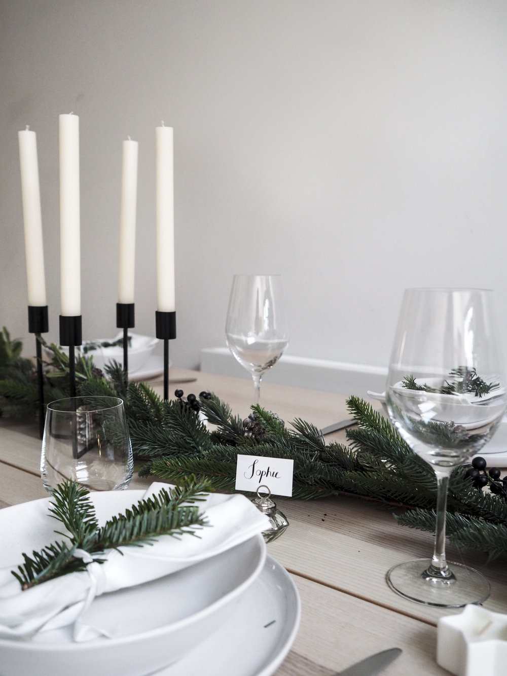 Belgravia Tumblrs  /  Belgravia Wine Glasses  /  Artisan Stoneware  /  Linen Napkins  /  Pure Dinner Candles  /   Place Card Holders  /  Pine Cone Garland