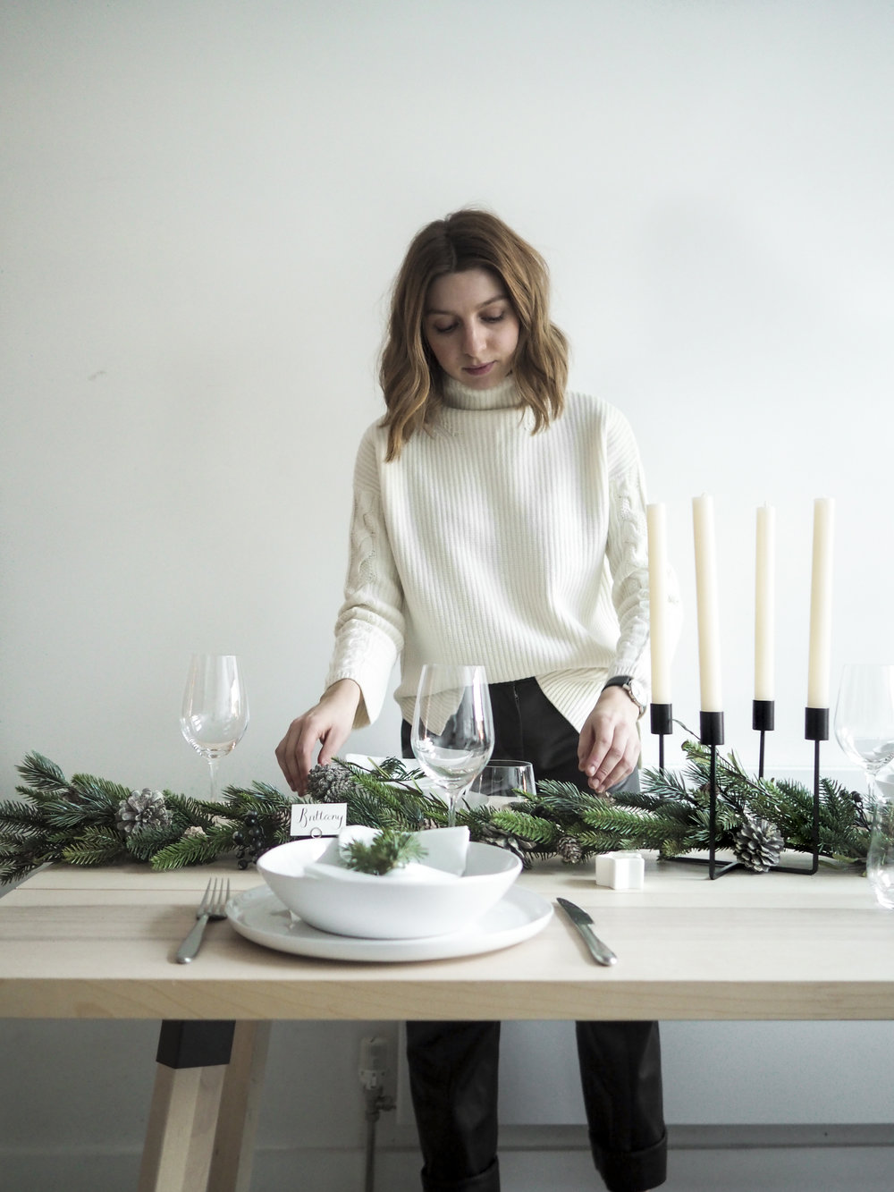 Wool Cable Jumper  /  Belgravia Wine Glasses  /  Pure Dinner Candles  /  Pine Cone Garland  /  Winter Star Tealights  /  Place Card Holders  /  Pine Cone Garland