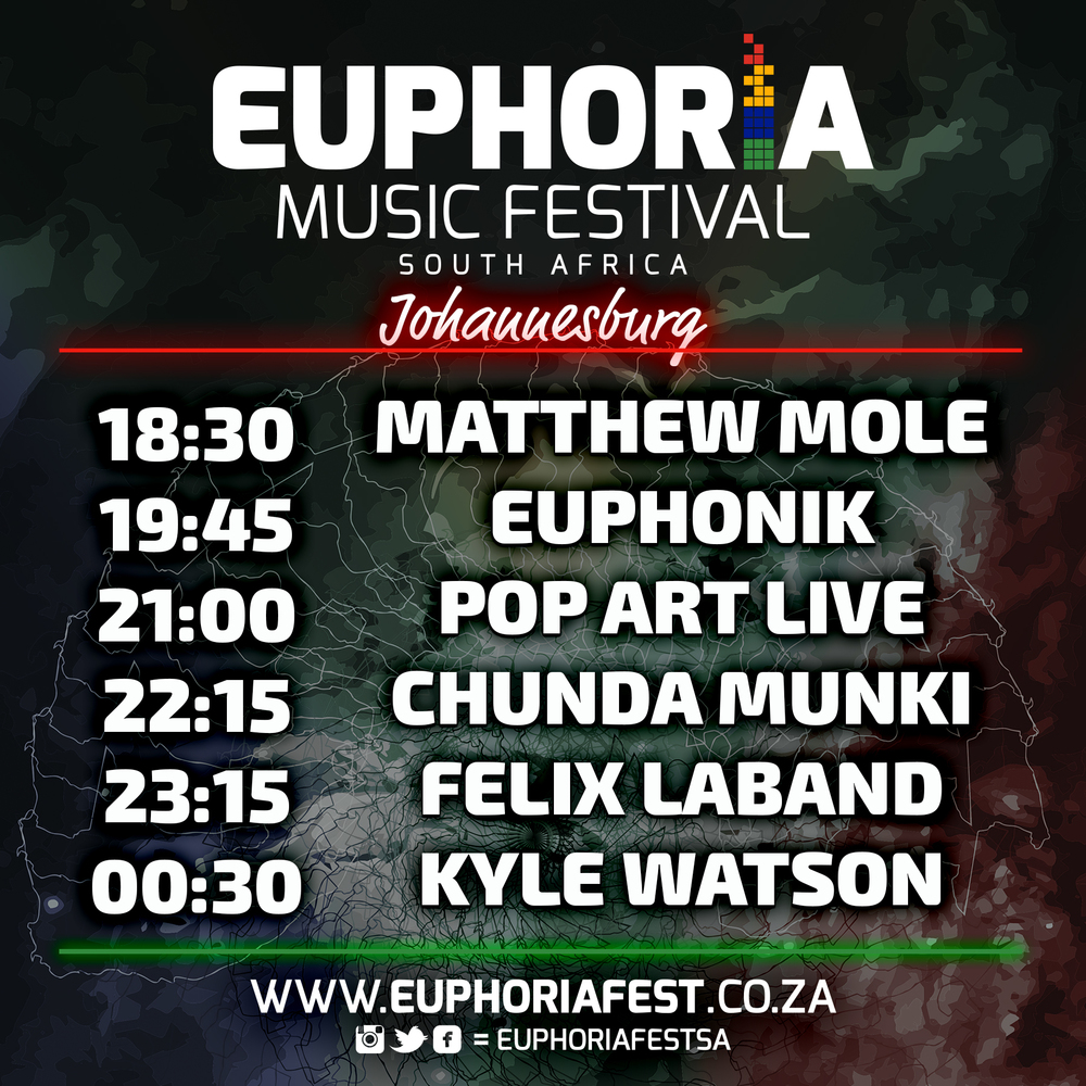 Euphoria South Africa Johannesburg Schedule
