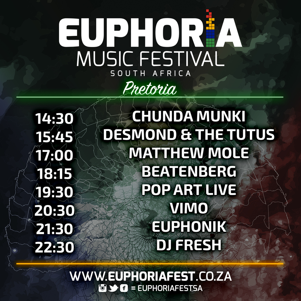 Euphoria South Africa Pretoria Schedule