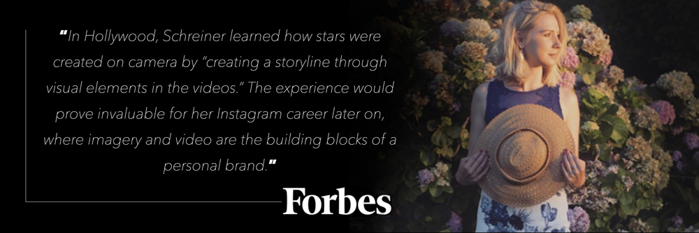 Crystal Schreiner in Forbes Beauty Everywhere and Insta on the Rise Instagram Training from Hollywood Director