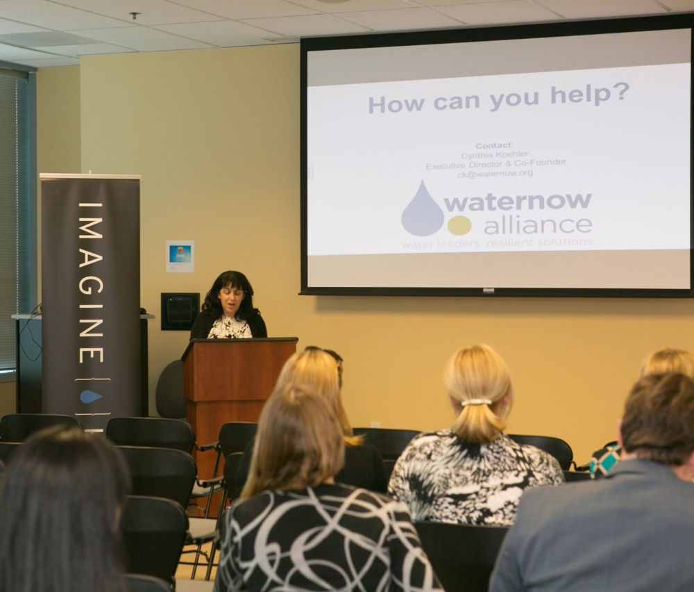 Cynthia Koehler, Executive Director of WaterNow Alliance, presents her proposal to California policymakers at Imagine H2O's Policy Challenge Forum in Sacramento on February 9, 2016