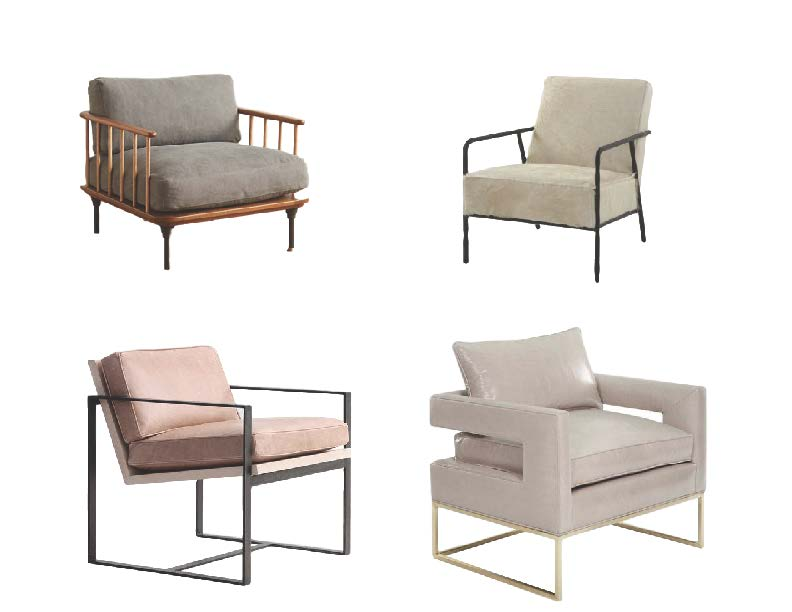 Clockwise:  Kalmar Armchair ,  Wick Chair ,  Manhattan Leather Chair ,  Bevin Leather Chair