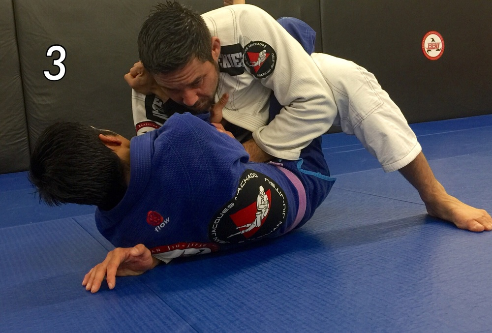 Use your knee to push against your elbow and post your hand against your opponent's upper arm. With both your leg and arm working together your opponent's arm can not apply pressure for the cross choke. You have crushed the choke.         Photo credit: Justin Agee