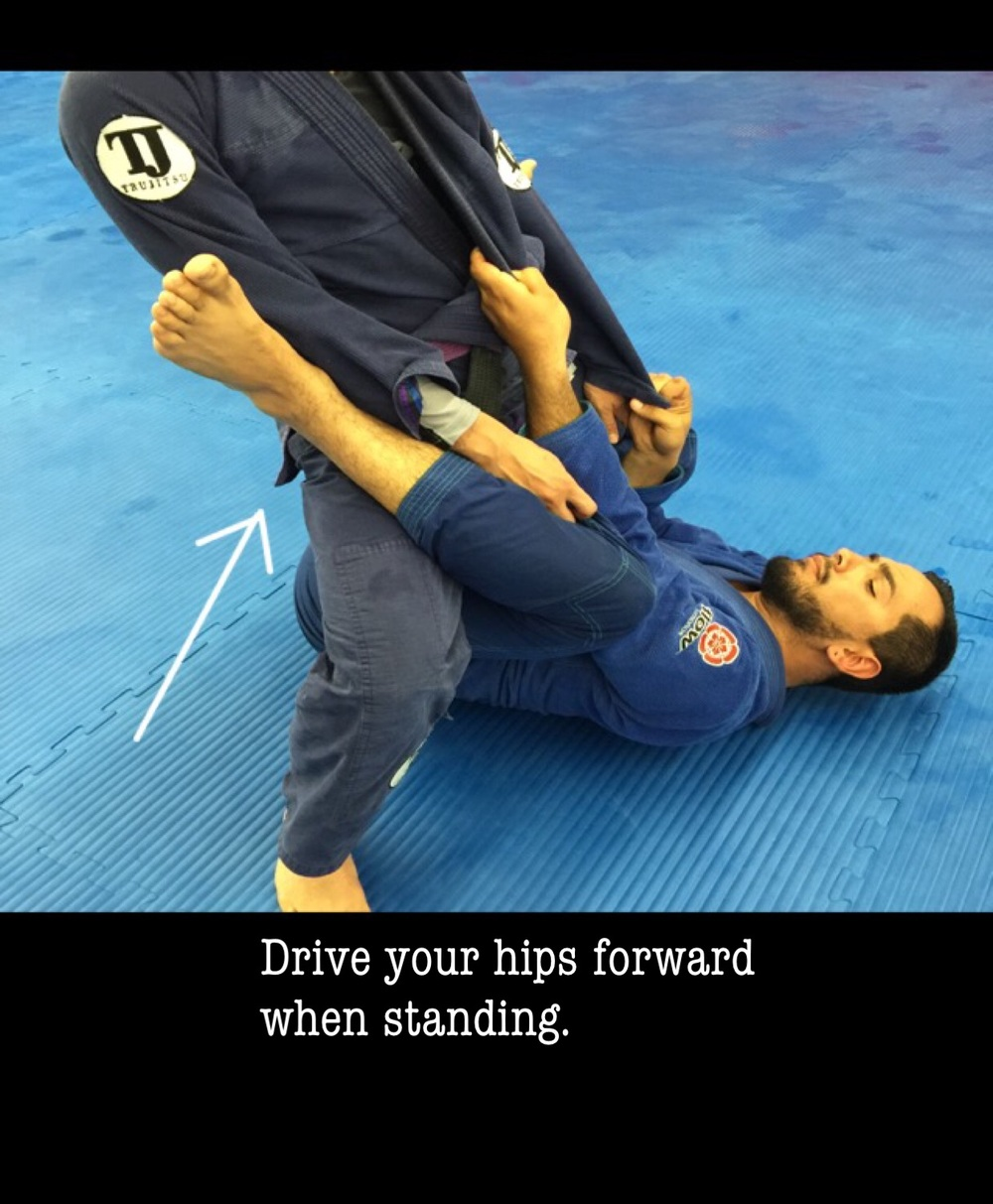 Driving your hips forward causes pressure and still allows you to keep balance. This also creates a frame with your legs that is good for defending the ankle/leg hook.