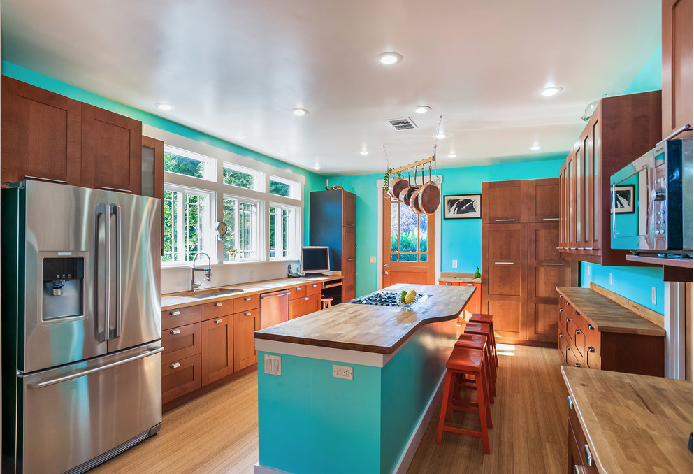 Kitchen after with Bamboo Floors and Turquoise walls