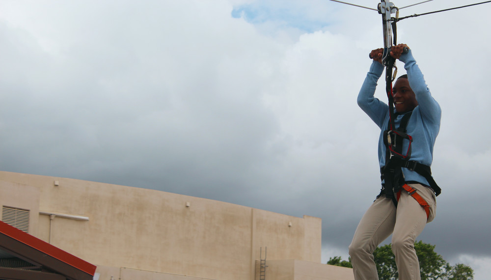 Alex enjoying the event's zipline!