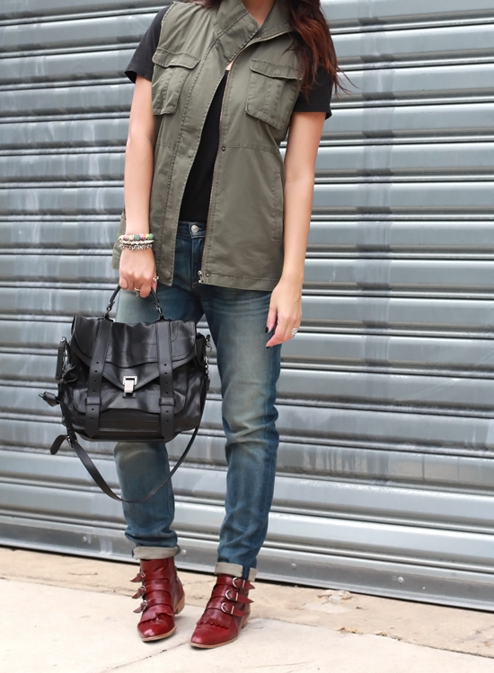 Proenza Schouler PS1 Bag, Rag and Bone Dre Jeans, Modern Vice Boots, Military Vest