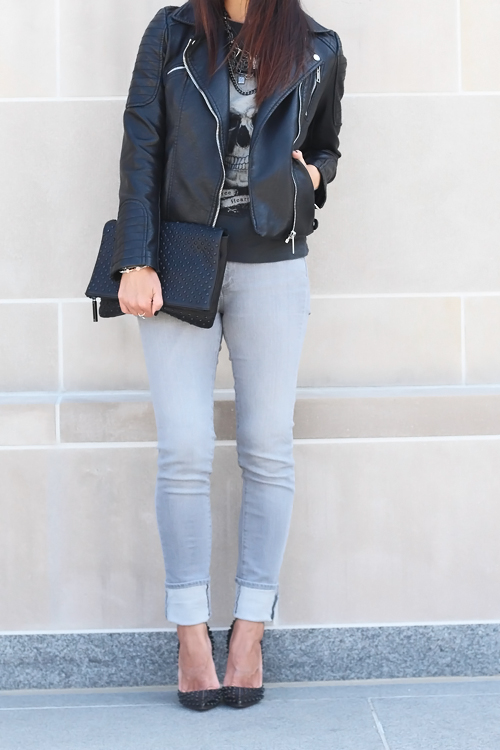 Zara Leather Jacket, Paige Denim Grey Skinny Jeans, Christian Louboutin Studded Pigalle Pumps