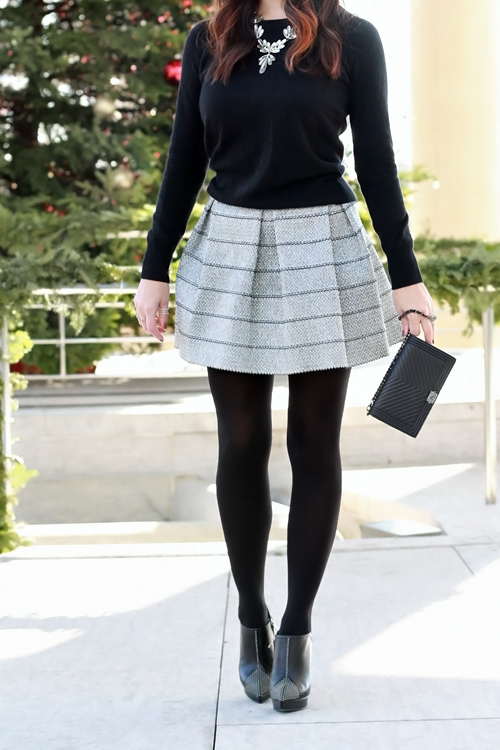 Holiday Style, Metallic Flare Skirt, YSL Studded Ankle Boots, Chanel Wristlet