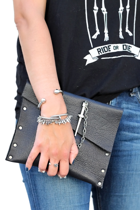 leather couture clutch