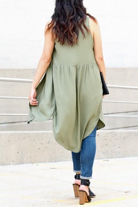Olive Green Duster Vest