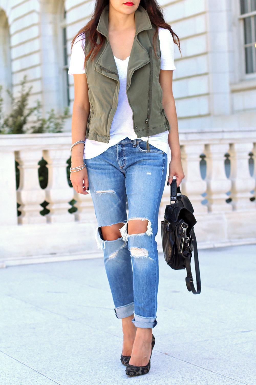 Anthropologie Moto Vest, Rag and Bone Dre Boyfriend Jeans