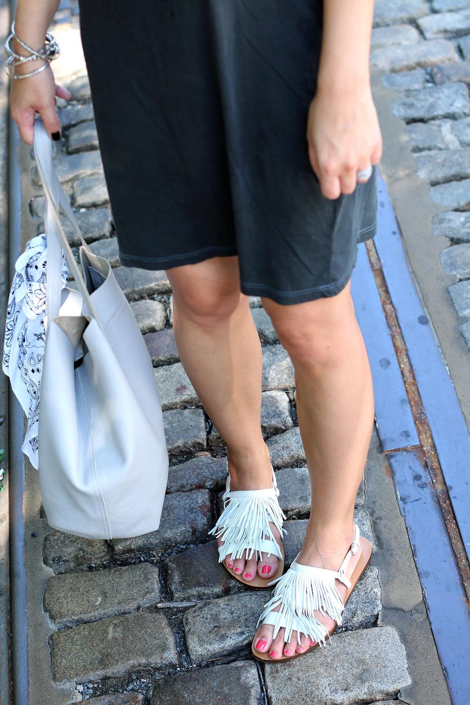 White Fringe Sandals