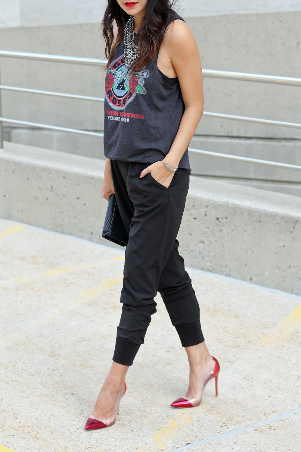 Graphic Tee, Wayf Joggers, Gianvito Rossi Pumps, Chanel WOC