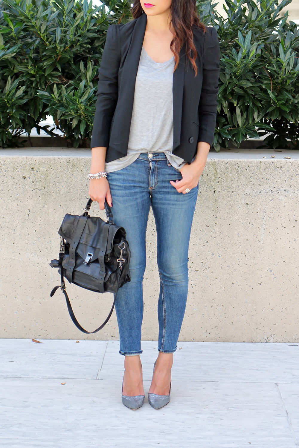 Blazer and jeans outfit