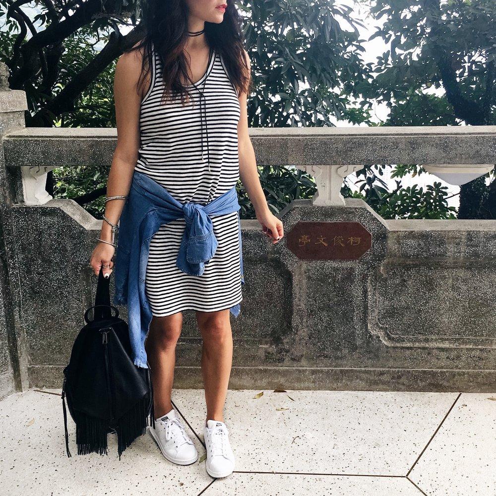 J. Crew Tank Dress  /  Cloth & Stone Chambray Shirt  /  Nordstrom Choker  /  Rebecca Minkoff Backpack  /  Adidas Stan Smith