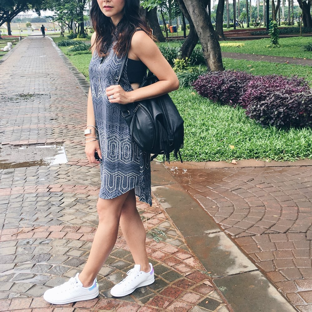 Trouve via Nordstrom Dress / Rebecca Minkoff Backpack / Adidas Stan Smith